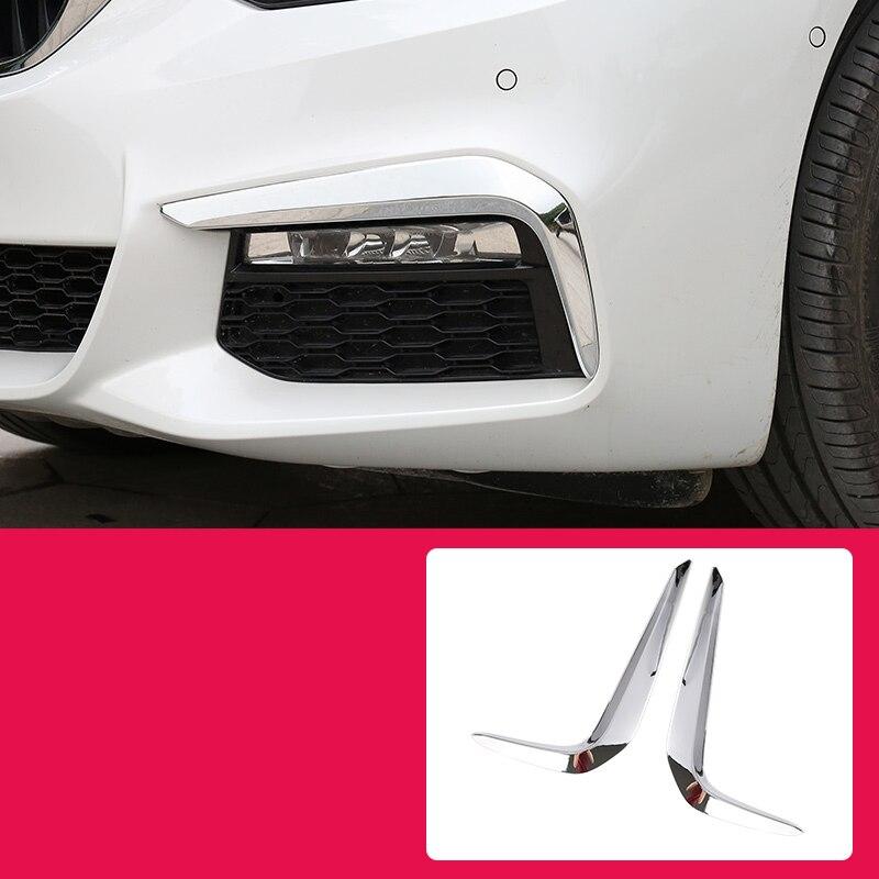 Lsrtw2017 bmw 5 シリーズ G30 G31 G38 車のフロント Foglight ストリップ装飾インテリアアクセサリークローム 2017 2018 2019 2020 2021