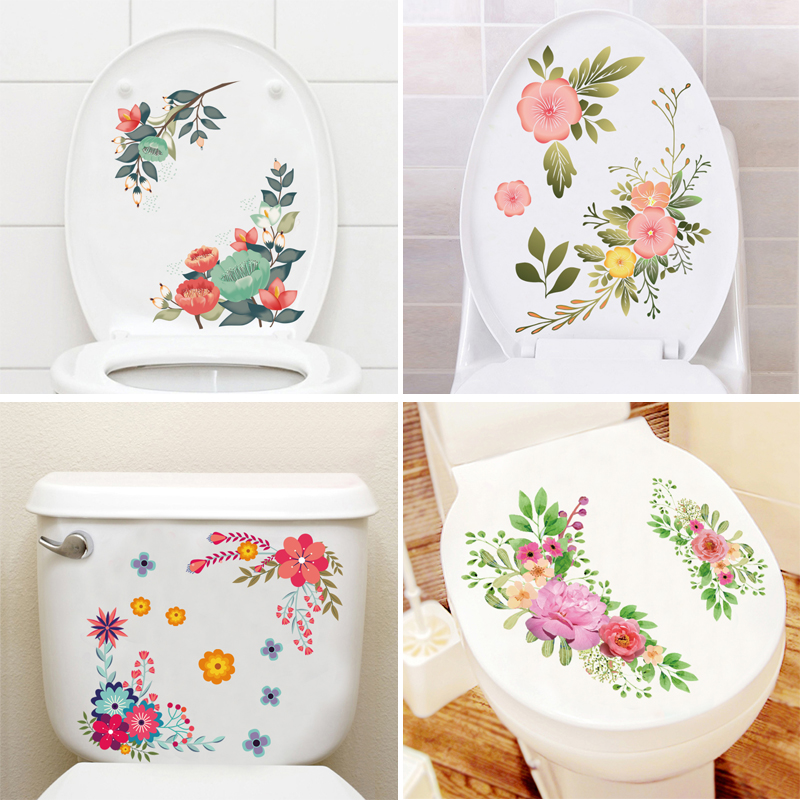 New Butterfly Flower bathroom wall stickers Toilet Home Decoration Removable Wall Decals Toilet Seat Stickers(China)