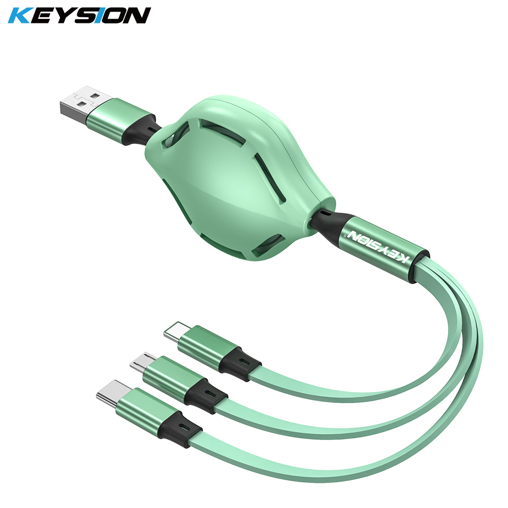 KEYSION <font><b>3in1</b></font> <font><b>USB</b></font> <font><b>Cable</b></font> <font><b>For</b></font> <font><b>iPhone</b></font> Type-C Charger Charging Micro <font><b>USB</b></font> C Telescopic Extension Mobile Phone <font><b>Cable</b></font> <font><b>For</b></font> Huawei Xiaomi image