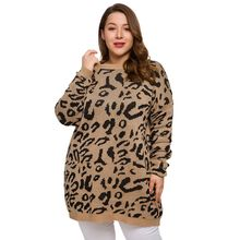Plus Size Women Leopard Knitted Sweater Autumn Winter Thick Long Sleeve Female Pullovers Casual Jumper Tops Coat maglioni donna women autumn winter leopard cardigan sweater coat female long sleeve plus size outer knitted tops pull warm thick blue