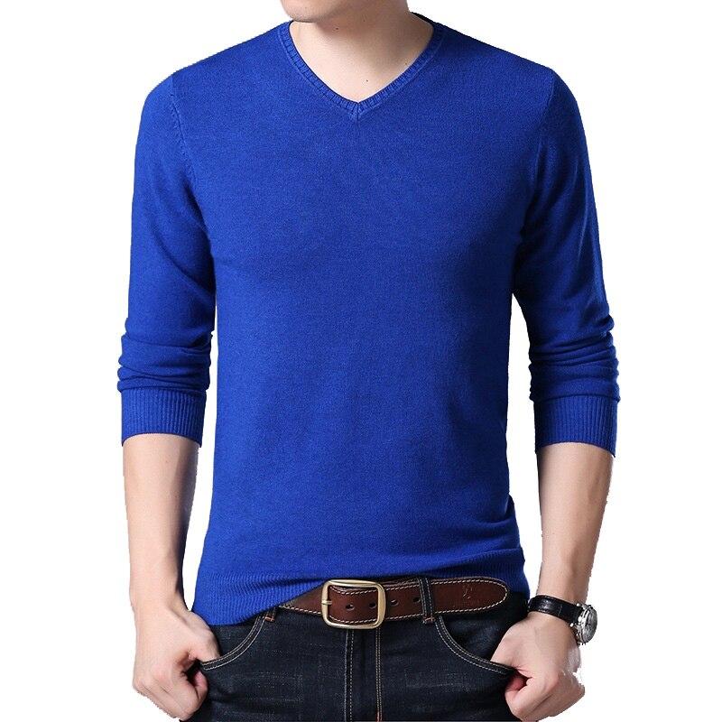 2019 Autumn Winter Long-sleeved Men's Sweater Korean Slim Men's Solid Color Sweater V-neck Men's Shirt Pullover
