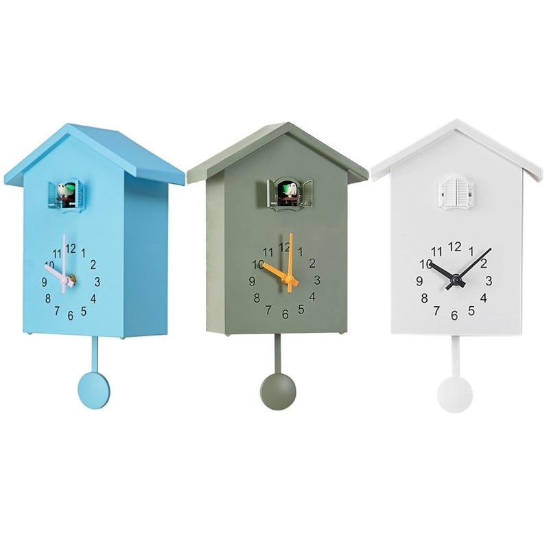 3Colors Modern Plastic Bird Cuckoo Design Quartz Wall Hanging Clock Timer Quartz Wall Clock for Home Office Decoration