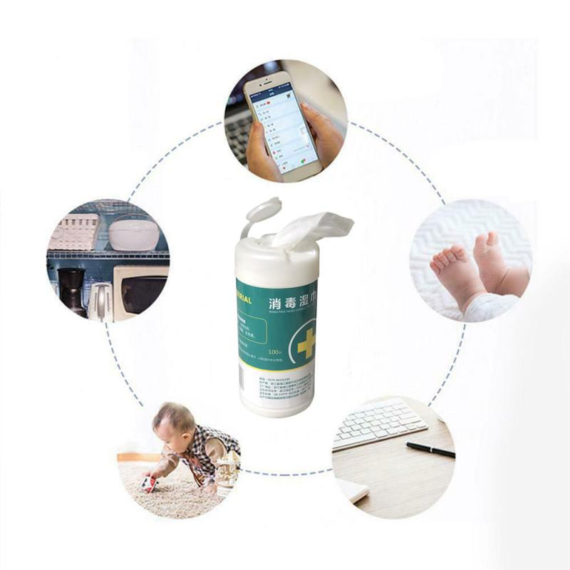 100Pcs/box Disinfection Wipes Antiseptic Pads Alcohol Cleaning Wet Wipes Swabs 100PCS Disposable Disinfection Car Home Wet Wipes