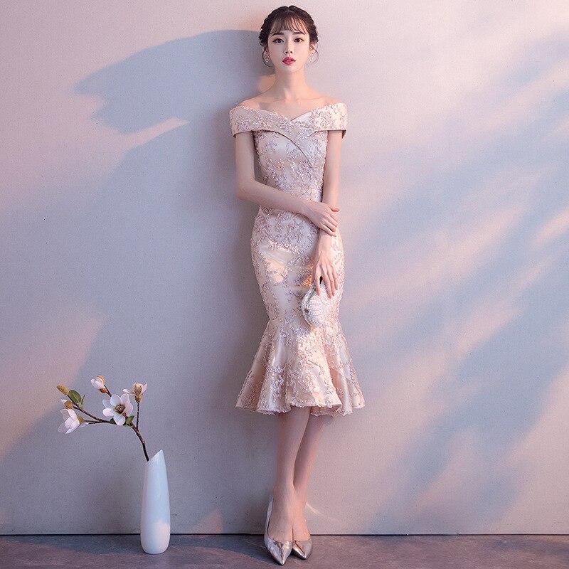 Champagne femmes Slash cou sirène robe de soirée élégant soirée balle mode à manches courtes bal courte mince robe Vestido XS-XXL