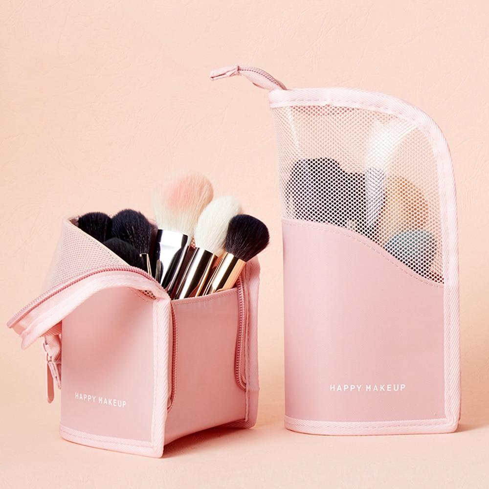 Leather Makeup Brush Storage Bag Mesh Vertical Zip Handle Carry Bag Makeup Can Stand Pink/Green Optional