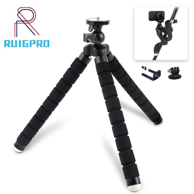 Rp mini flexível esponja polvo tripé para iphone xiaomi huawei smartphone tripé para câmera gopro acessório com clipe de telefone