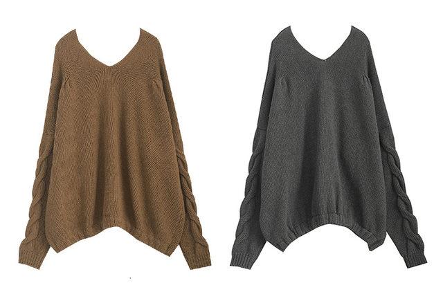 [EAM] Big Size Oversize Knitting Sweater Loose Fit V-Neck Long Batwing Sleeve Women New Fashion Tide Autumn Winter 2019 1B621 34