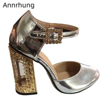 Bird-cage Fretwork Heel Banquet Shoes Woman Side Cut Outs Ankle Strap Crystal Buckle Belt Metal Strange Heel Women Pumps