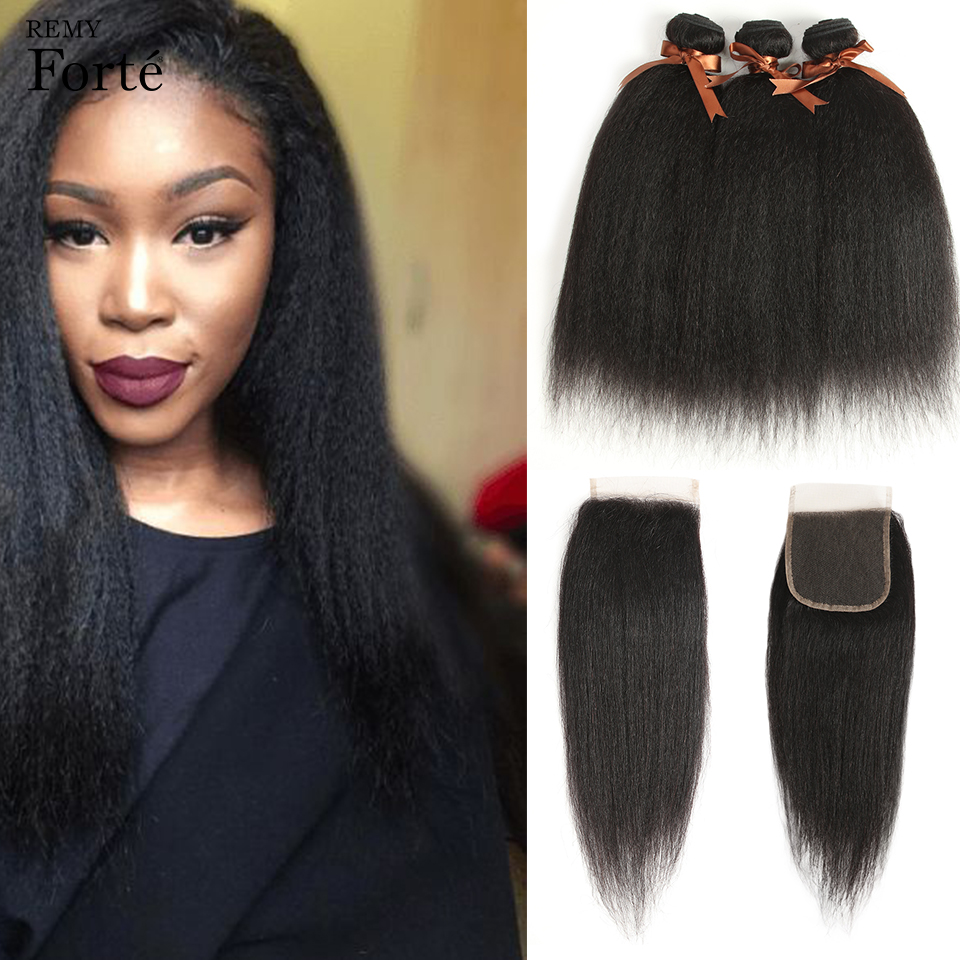 Remy Forte Yaki Straight Bundles With Closure 30 Inch Human Hair 3/4 Bundles With Closure Remy Brazilian Hair Weave Bundles