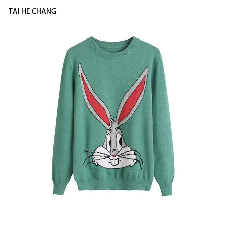 Women Casual Rabbit Sweaters 2018 New Fashion Designer Autumn And Winter Knitted Pullovers Sweater Outerwear
