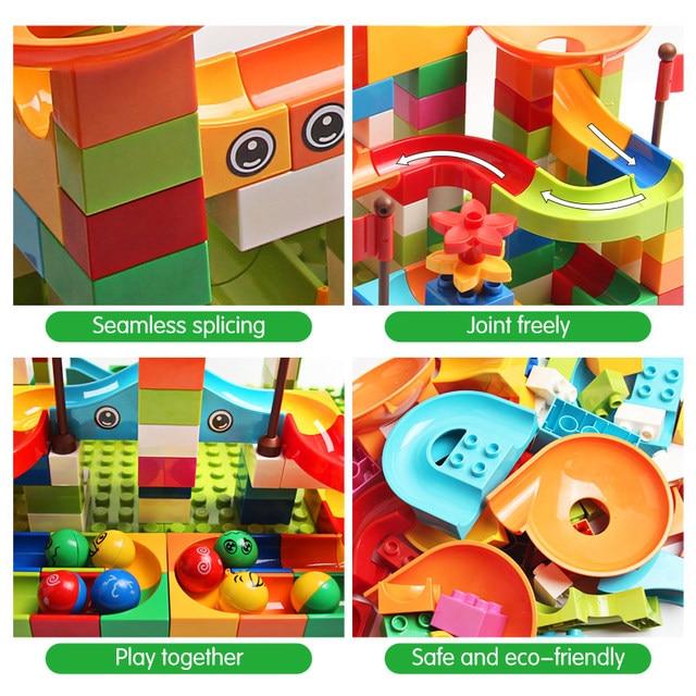 77-308PCS Marble Race Run Big Block Compatible Duploed Building Blocks Funnel Slide Blocks DIY Big Bricks Toys For Children gift 5
