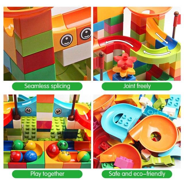 77-308PCS Marble Race Run Big Block Compatible Duploed Building Blocks Funnel Slide Blocks DIY Bricks Toys For Children 1