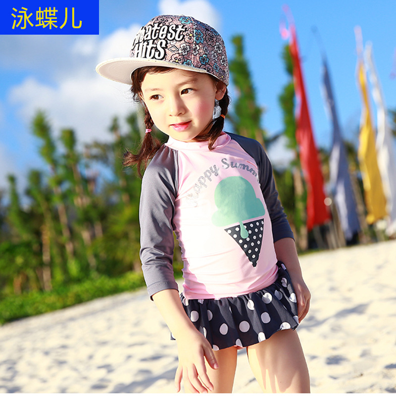 South Korea Children Split Type Swimwear Long Sleeve Skirt-Boxer Sun-resistant Bathing Suit Girls Little Girl Baby Princess Bubb