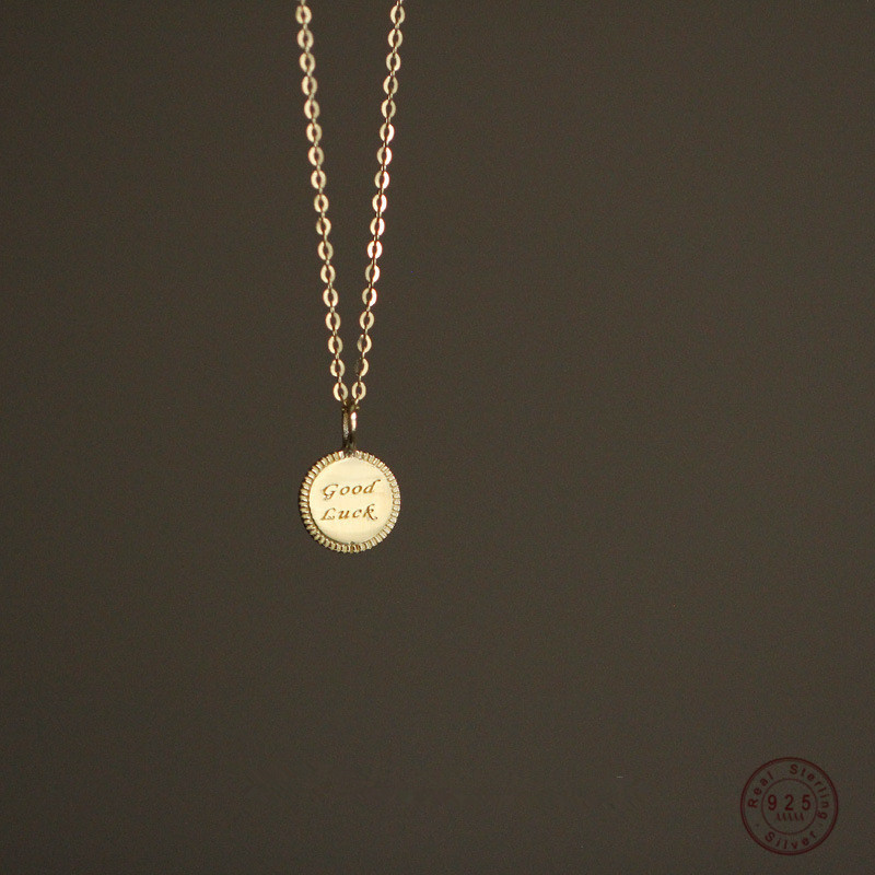 """Bohemian Simple Round Brand """"goodluck"""" Lucky Tag Necklace Women Banquet Wedding fashion Jewelry Accessories Girlfriend Gift"""