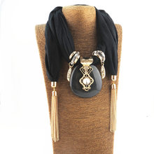 New chain tassel pendant pendant scarf Chiffon blended color accessories lady's shawl Necklace Jewelry Necklace wome s unique rural stylethin chiffon shawl scarf sapphire blue multi color