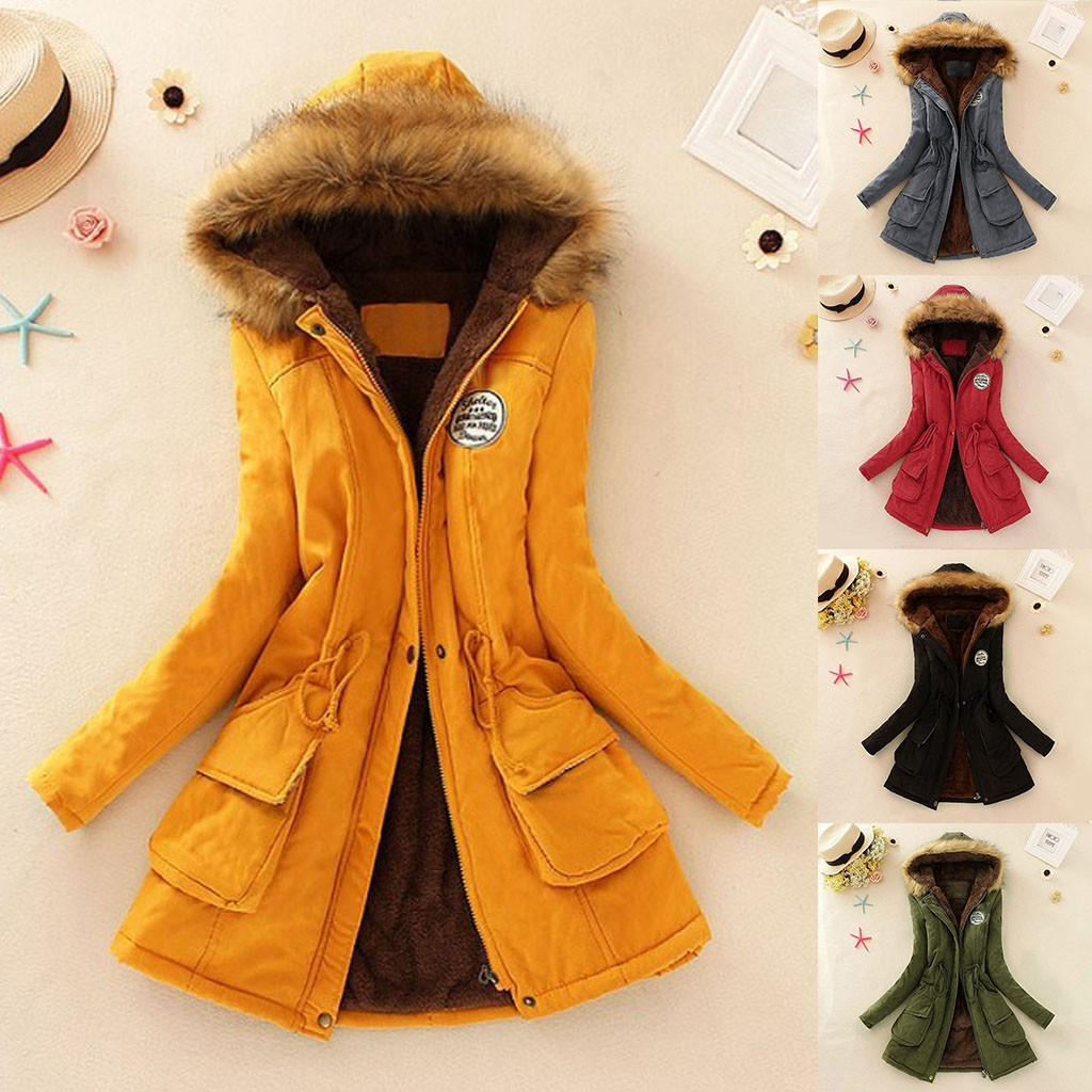 Outwear Coats Parkas Fur-Jackets Warm Plush 7XL Women 6XL Hoody Autumn New Solid -G7 title=