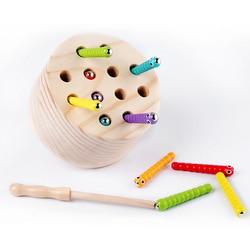 Drewniane dzieci magnetyczne złap owady wędkarstwo wczesne dzieciństwo edukacyjne koordynacja oka kolor pamięci rodzic I dziecko I na