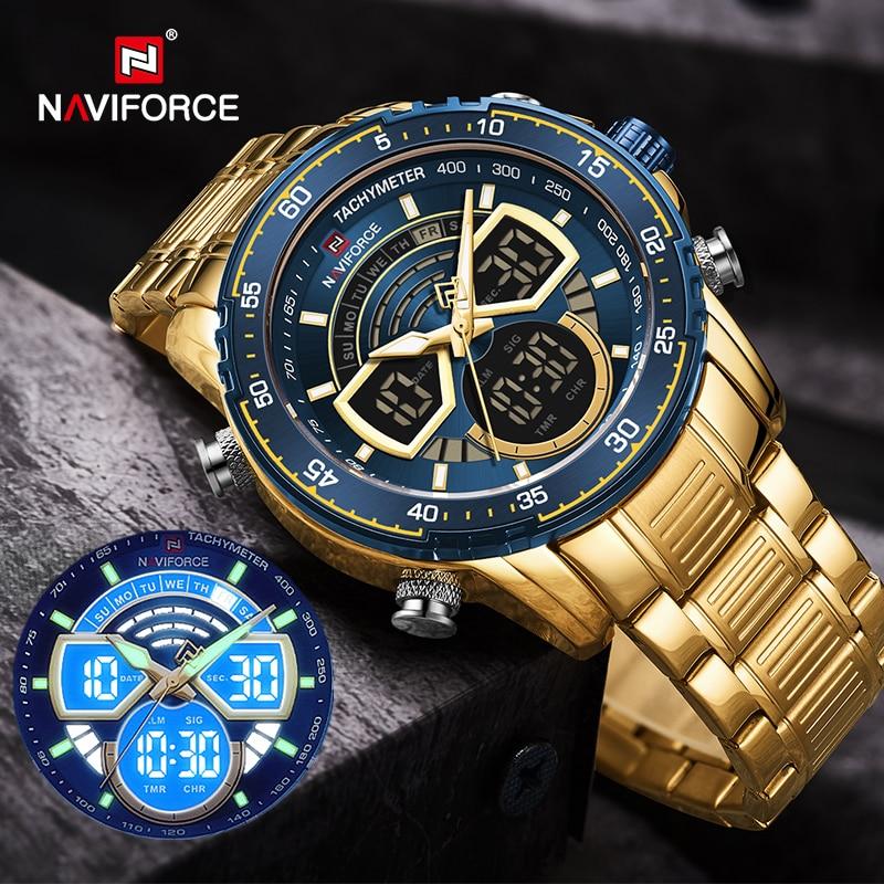NAVIFORCE Mens Military Sports Waterproof Watches Luxury Analog Quartz Digital Wrist Watch for Men Bright Backlight Gold Watches|Quartz Watches| - AliExpress