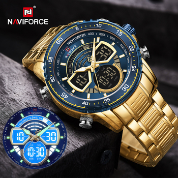 NAVIFORCE Mens Military Sports Waterproof Watches Luxury Analog Quartz Digital Wrist Watch for Men Bright Backlight Gold Watches