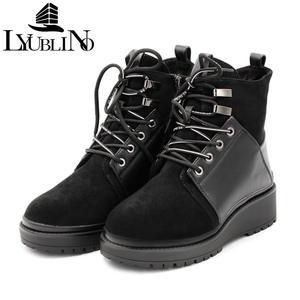 Модные женские ботинки из натуральной кожи с круглым носком; удобные высокие ботильоны на молнии; Теплая обувь на платформе со шнуровкой; же...