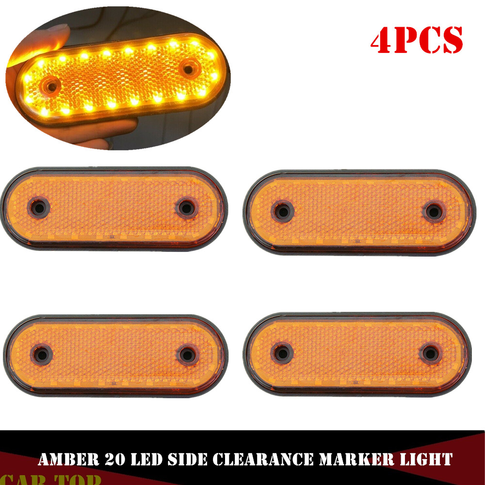 4PCS Red LED Trunk Light 20LED Side Marker Light Rear Indicator Tail Truck Trailer Brake Light 24V LED Lights For Trucks