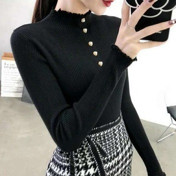 Half Turtleneck Sweater Women's 2020 Early Spring and Autumn New Korean Slim Slim Thin Lined Knitted