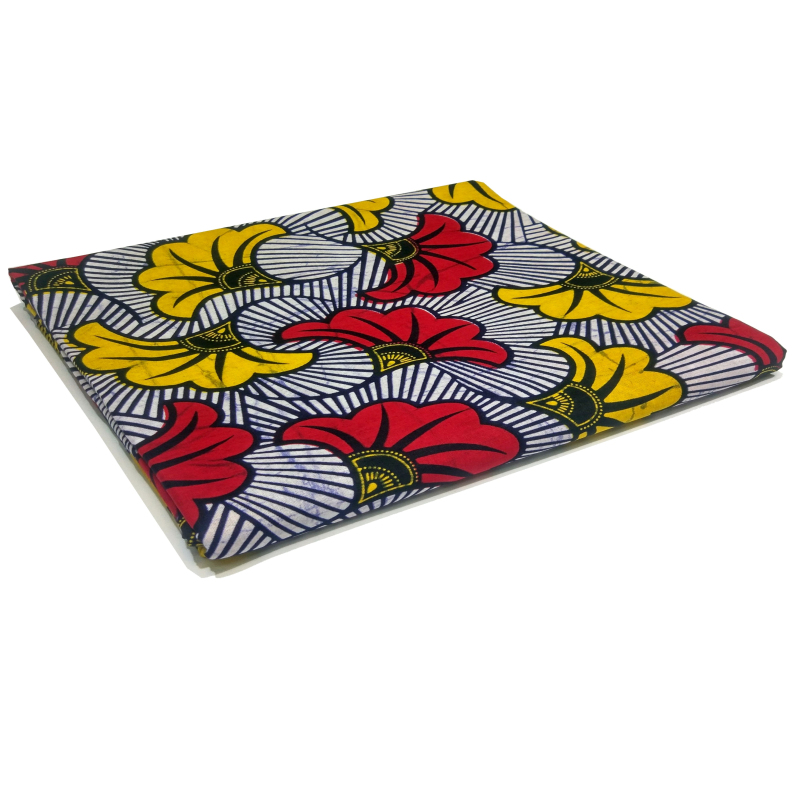 6Yard Ankara African Fabric Real Wax Red Fan Printed Fabric For Party Dress Making Sewing Accessories