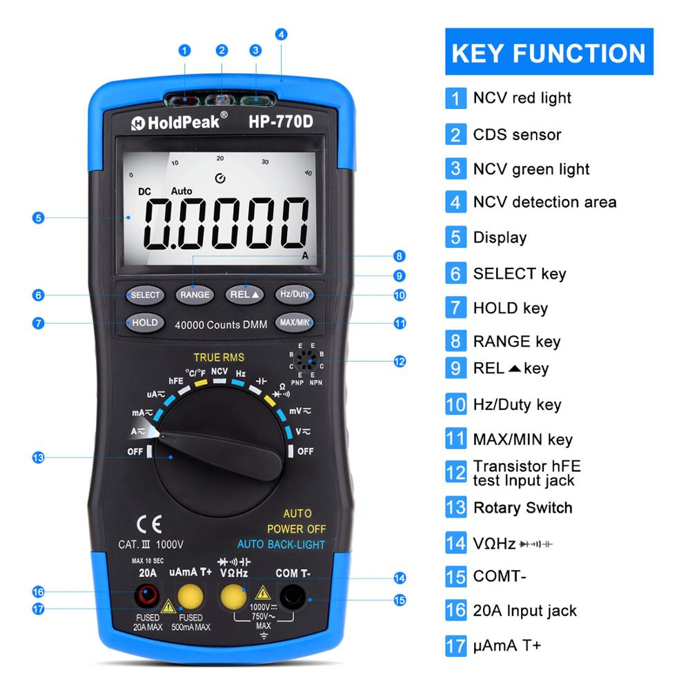 Tools : Multimeter high-accuracy digital multimeter Auto Range Multimetro True RMS 40000 Counts Measure Ohm Volt Amp Capacitor Tester