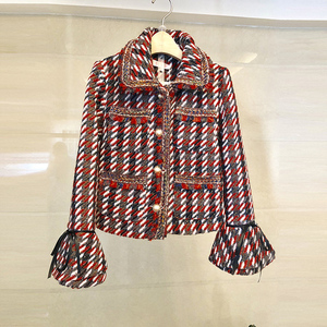 Image 2 - 2019 otoño Plaid Tweed 2 piezas conjunto invierno mujeres elegante Flare manga perla botón chaqueta abrigo + alta cintura lana mini falda trajes