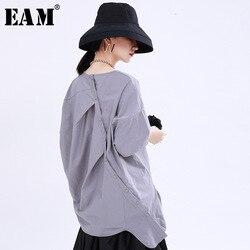 Женская плиссированная футболка EAM, разноцветная футболка большого размера с коротким рукавом и круглым вырезом, на весну-лето 2020 1U176