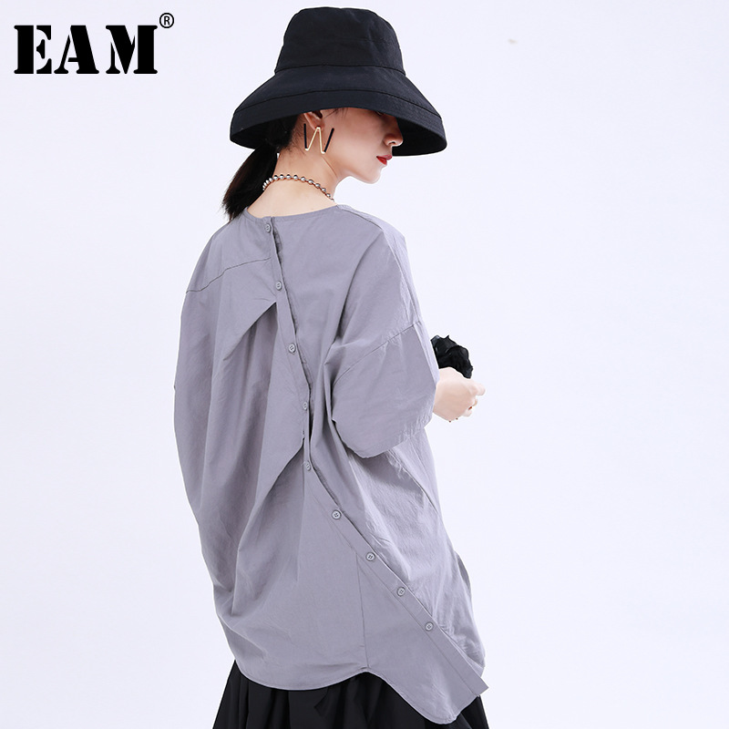 [EAM] Women Multicolor Button Pleated Big Size T-shirt New Round Neck Half Sleeve  Fashion Tide  Spring Summer 2020 1U176