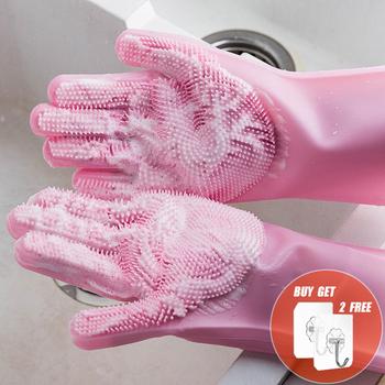 2 sztuk wielofunkcyjne silikonowe rękawice do sprzątania magiczne silikonowe rękawiczki do mycia naczyń dla kuchni gospodarstwa domowego silikon rękawice do mycia naczyń tanie i dobre opinie 140g HEA-1086 Grube RUBBER Food grade silicone Dish Washing Thick Magic gloves Gloves cleaning - 60 ℃ - 250 ℃ 2PCS