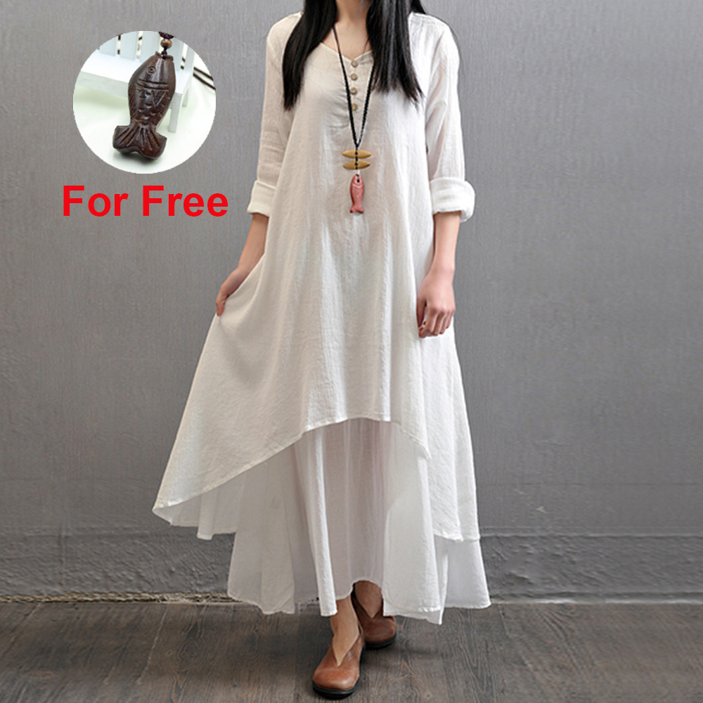 US $11.75 17% OFF|Spring Summer Women Long Cotton Linen Dress White Plus  Size False Two Pieces O Neck Maxi Dresses Office Casual Loose Dress-in ...