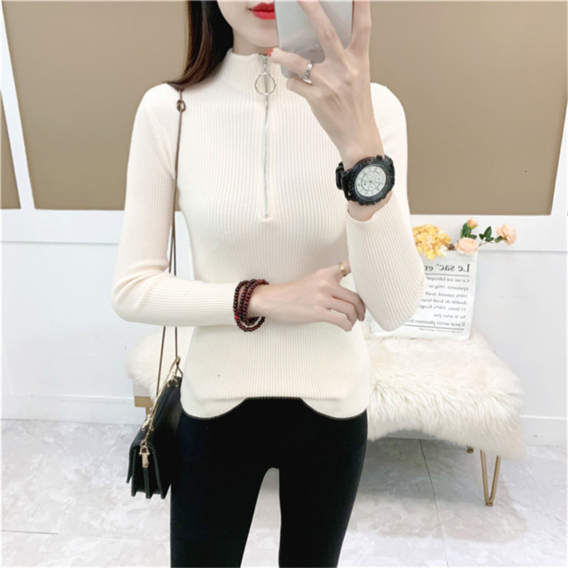 Zipper Solid O-Neck Stripe Fashion Warm Knitted Sweater Pullover Autumn Knitwear Sueter Mujer Long Sleeve Women New 2019 Woman