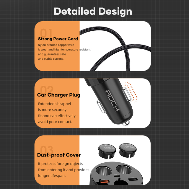 ROCK 5A Best Car Charger Car Accessories Unisex fd7acb3515ad33fc8f6d6c: Black