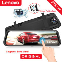 """lenovo 1"""" видеорегистратор зеркало заднего вида камера потоковая передача медиа Полноэкранный сенсорный двойной объектив видеорегистратор ночного видения автомобильные видеорегистраторы"""