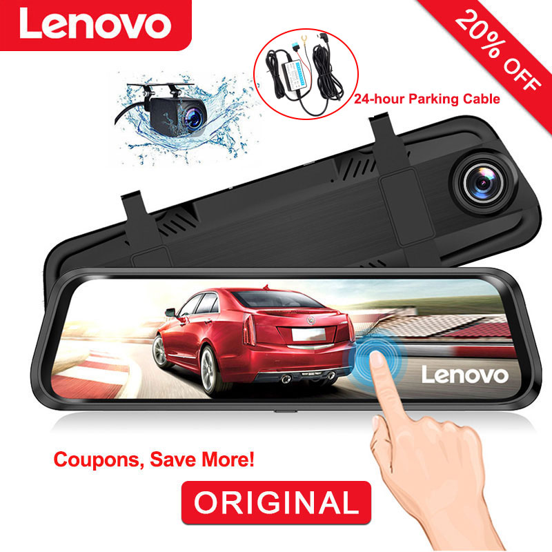 Lenovo Rearview-Mirror-Camera Car-Dvrs Dash-Cam Dual-Lens Streaming-Media-Full-Screen title=