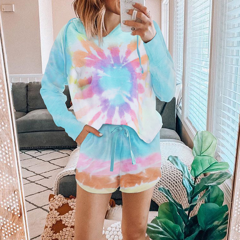 2020 Colorblock Lounge Wear Sleepwear Fashion  Summer Two Pieces Set Hooded Pajamas For Women Loose Home Clothes Suit Nightwear