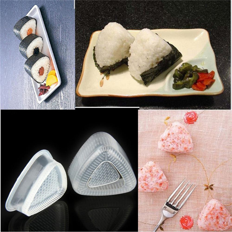 1 Set Sushi Mold Onigiri Rice Ball Bento Press Maker Mold DIY Tools Clear Triangle Sushi Mold Utility Kitchen Accessories