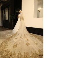 Gold Lace Edge Luxury Cathedral Wedding Veil Hot Sale Wedding Accessories Long Bridal Veils Velos De Novia 3m Width 3.5m Lengh