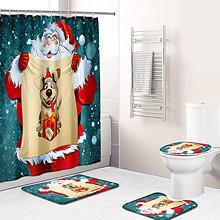 4 sztuk boże narodzenie zasłona prysznicowa łazienka antypoślizgowa dywan dywan toaleta pokrywa zestaw Mat materiały na przyjęcie świąteczne Navidad 2020 FN50 tanie tanio CN (pochodzenie) Cartoon Rysunek Star Christmas Gnome Statue Ornaments Metal Birthday party Ślub christmas decorations for home