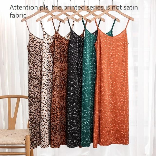 Fashion High Quality Women's Dress Summer Spaghetti Satin Long Woman Dress Very Soft Smooth Plus Size S-4XL M30262 6