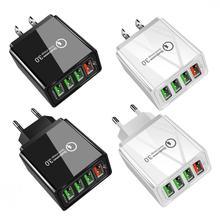 EU/US 4 Port USB QC3.0 Fast Charger Plug Multi-function Portable Wall Mount