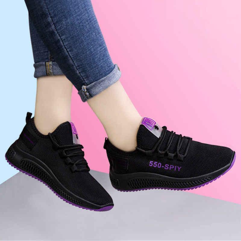 สไตล์ใหม่ผู้หญิงวิ่งรองเท้าเพิ่มขึ้น 6 ซม.INS รองเท้าผ้าใบส้นสูงผู้หญิงความสูงแพลตฟอร์ม Breathable กีฬาเดิน Gilrs
