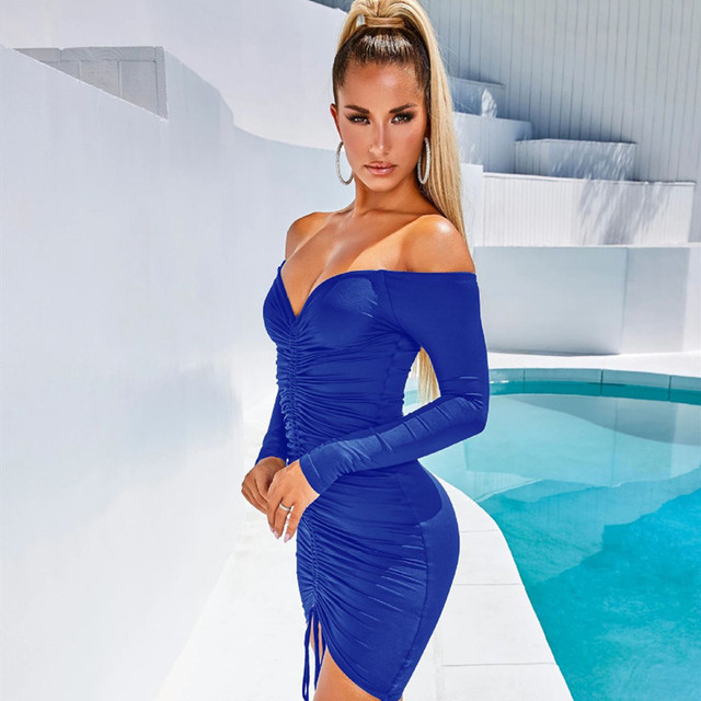 ANJAMANOR Sexy Club Dresses Woman Party Night Drawstring Ruched Off Shoulder Long Sleeve Bodycon Bandage Dress Fall D36-AA43 5