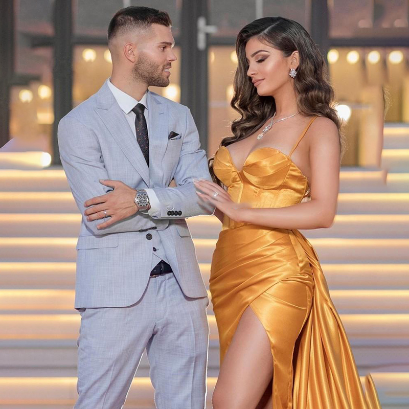 2021 Gold Sweetheart Prom Dresses Satin Long Evening Gown Sexy High Split Dubai Party Dress Formal Gowns Abendkleider 3