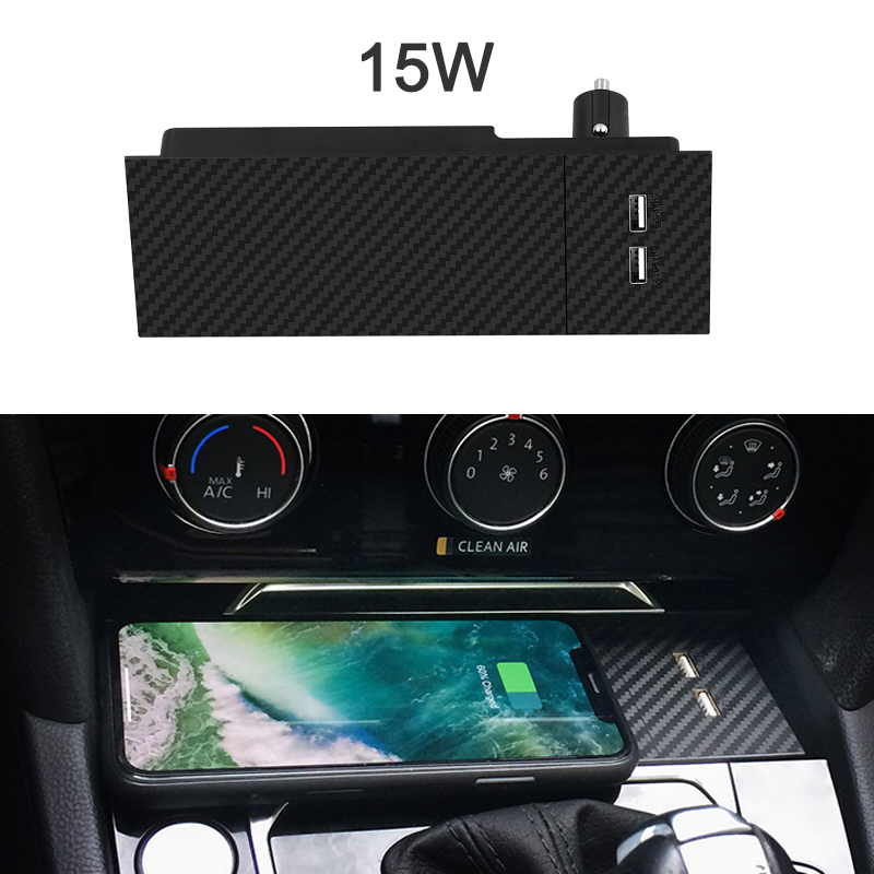 For Passat B8 2019 Arteon CC Car Wireless Charger Lighter Adapter Dual USB Ports Mount Phone Holder Qi Fast Charging Panel
