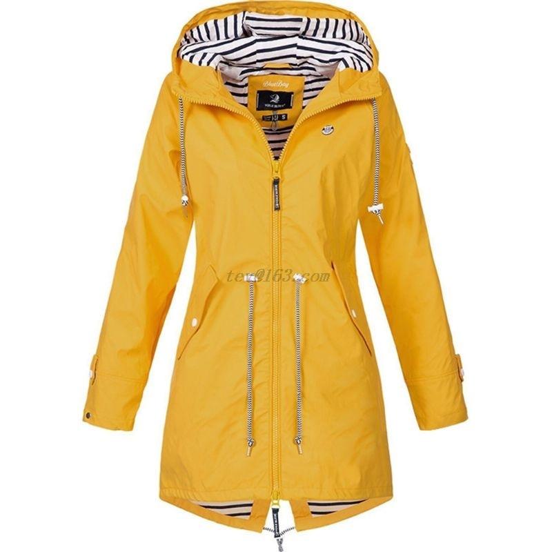 Womens Waterproof Rain Jacket Long Sleeve Raincoat Windbreaker for Sport Camping Hiking Hooded  Coat with Pockets S 5XL|Jackets|   - AliExpress