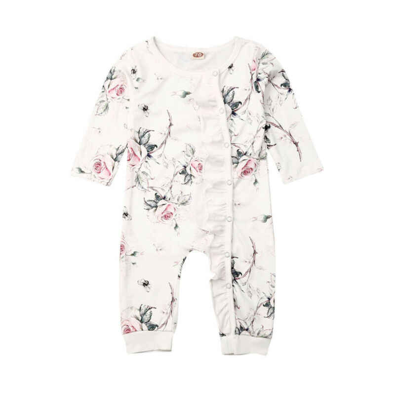 New Baby Girl Cotton Flower Ruffle Romper Jumpsuit Outfit Set