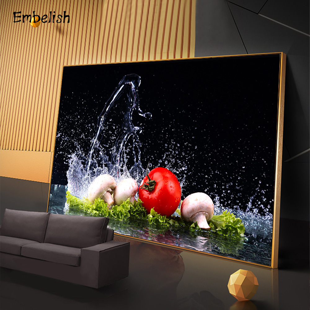 1 Pieces Water Splash Vegetables Kitchen Home Decor Wall Posters Cherry Tomatoes Mushrooms Pictures Living Room Canvas Paintings